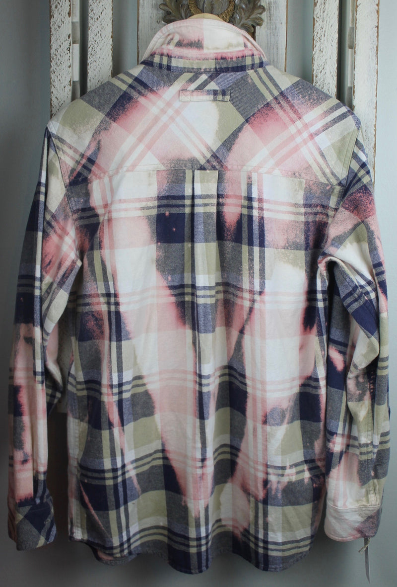 Vintage Sage Green, Pink, Blue and White Flannel Size Medium