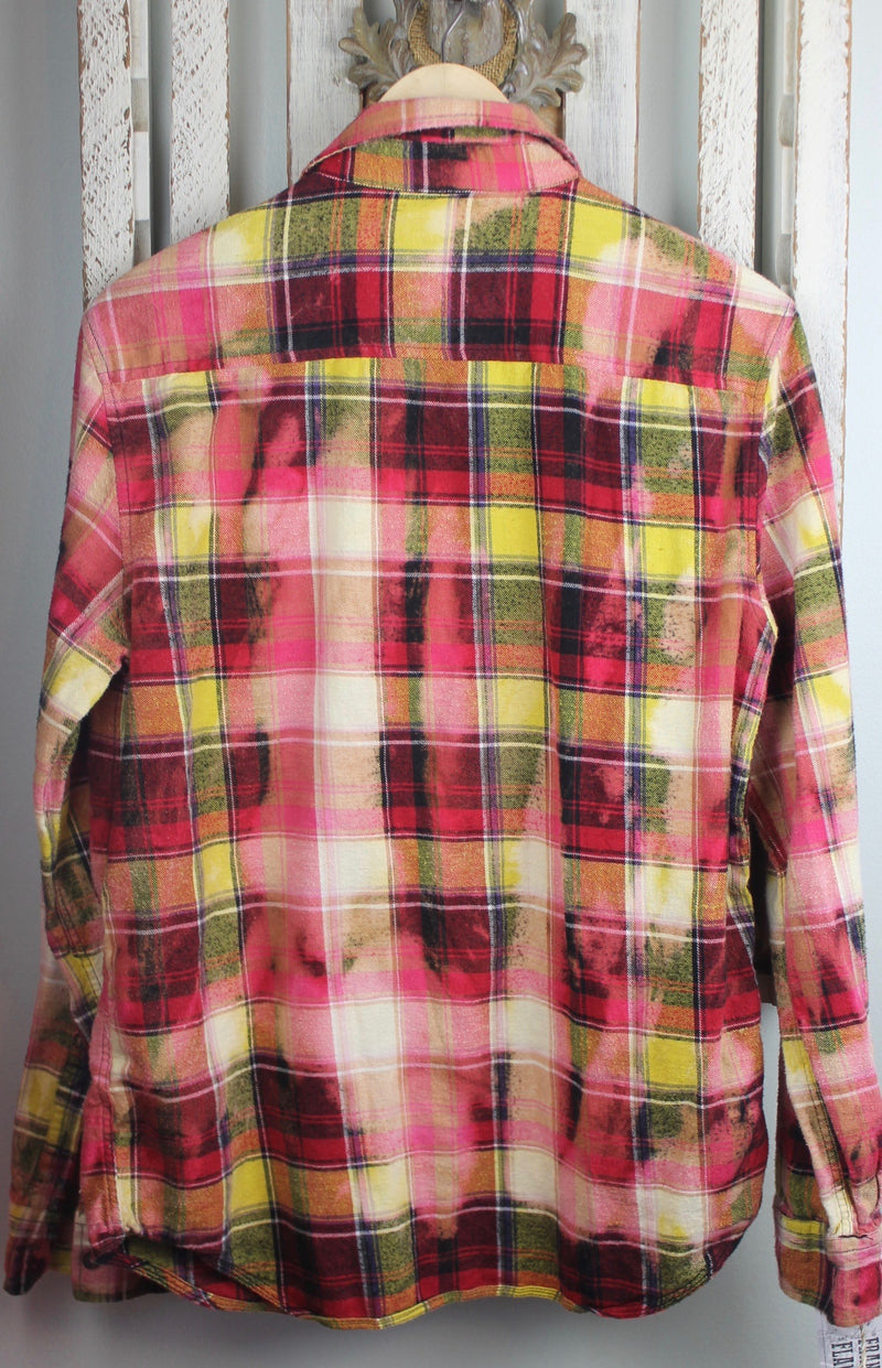 Vintage Red, Pink, Yellow and White Flannel Size Medium