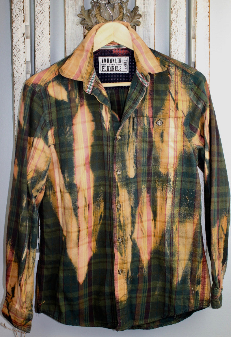 Vintage Forest Green, Gold and Pink Flannel Size Small
