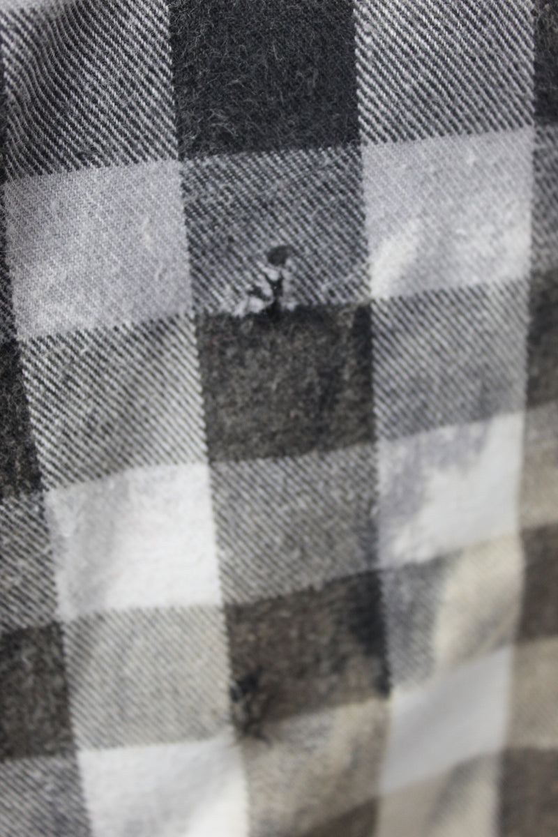 Grunge Black, White, and Cream Flannel Size Small