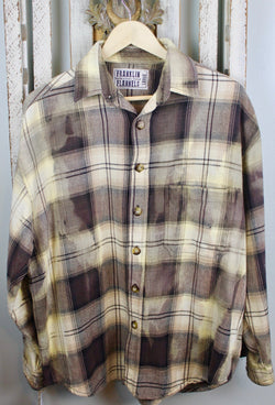 Vintage Chocolate Brown and Pale Yellow Flannel Jacket Size Large