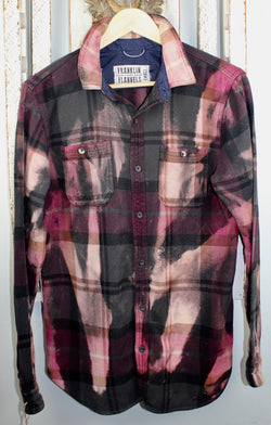 Vintage Burgundy, Charcoal Grey and Mauve Flannel Size Small