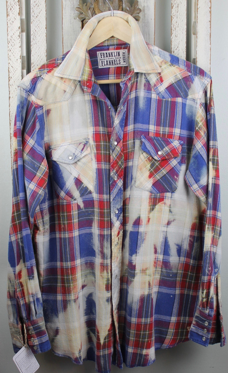 Vintage Western Blue, Red and Cream Flannel Size Medium