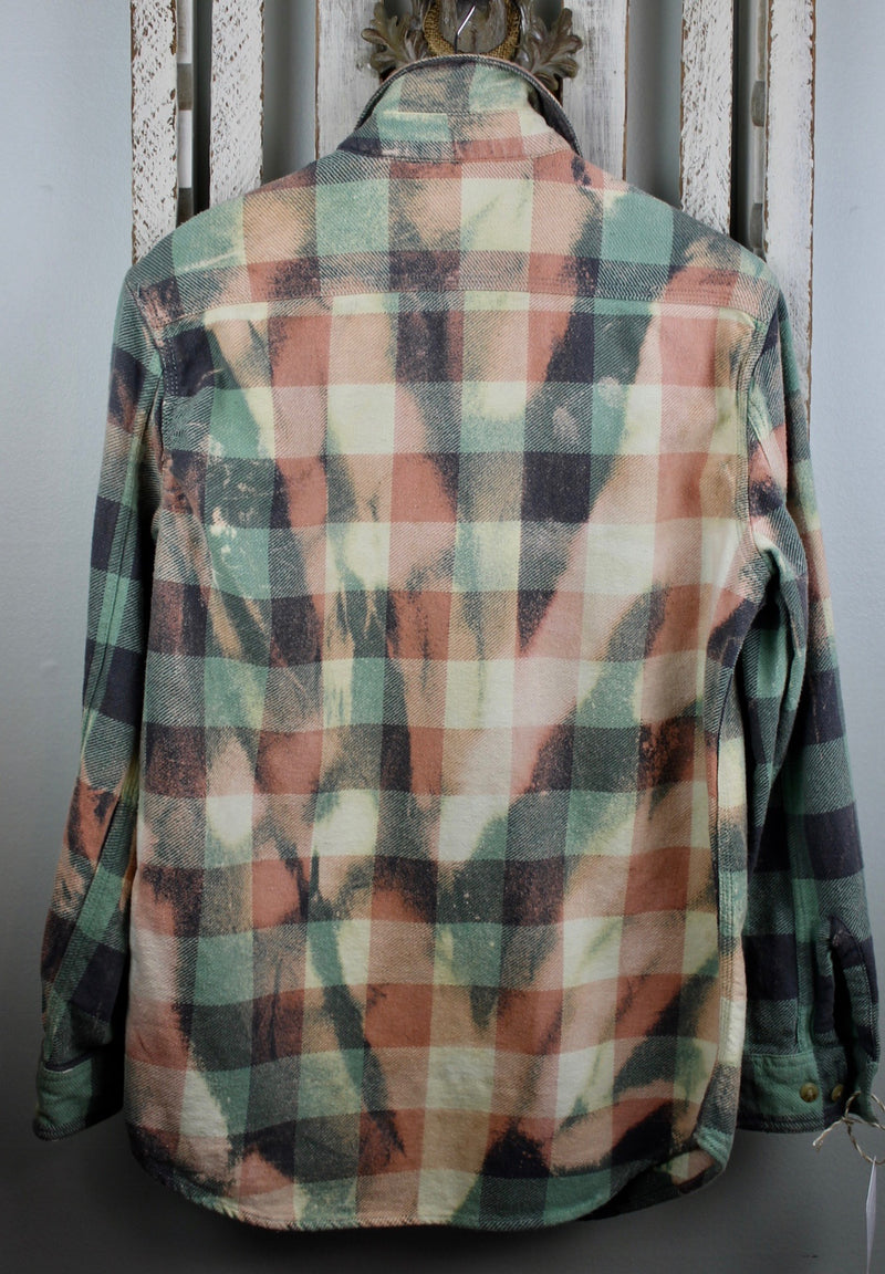 Vintage Green, Peach and Light Yellow Flannel Jacket Size Medium