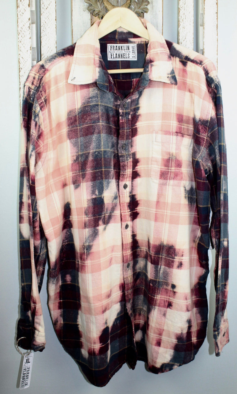 Vintage Burgundy, Teal and Pink Flannel Size XL