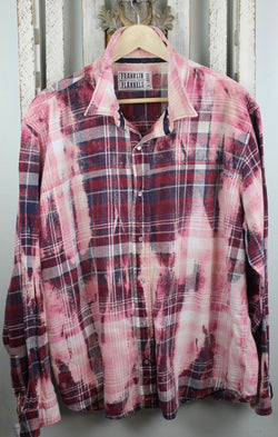 Vintage Western-Cut Pink, Burgundy and Cream Flannel Size XL