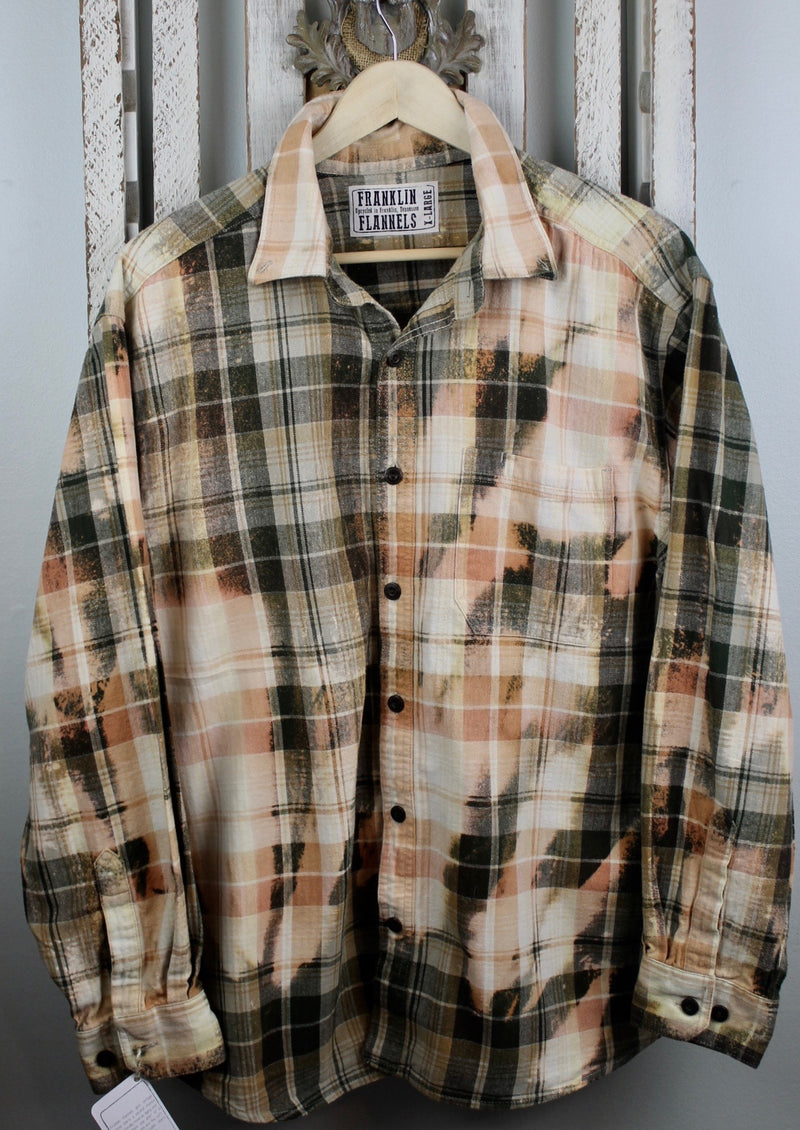 Vintage Military Green & Coral Flannel Size XL