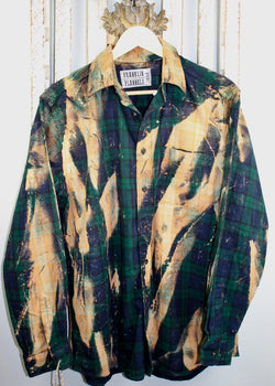 Vintage Hunter Green, Deep Navy and Gold Flannel Size Large