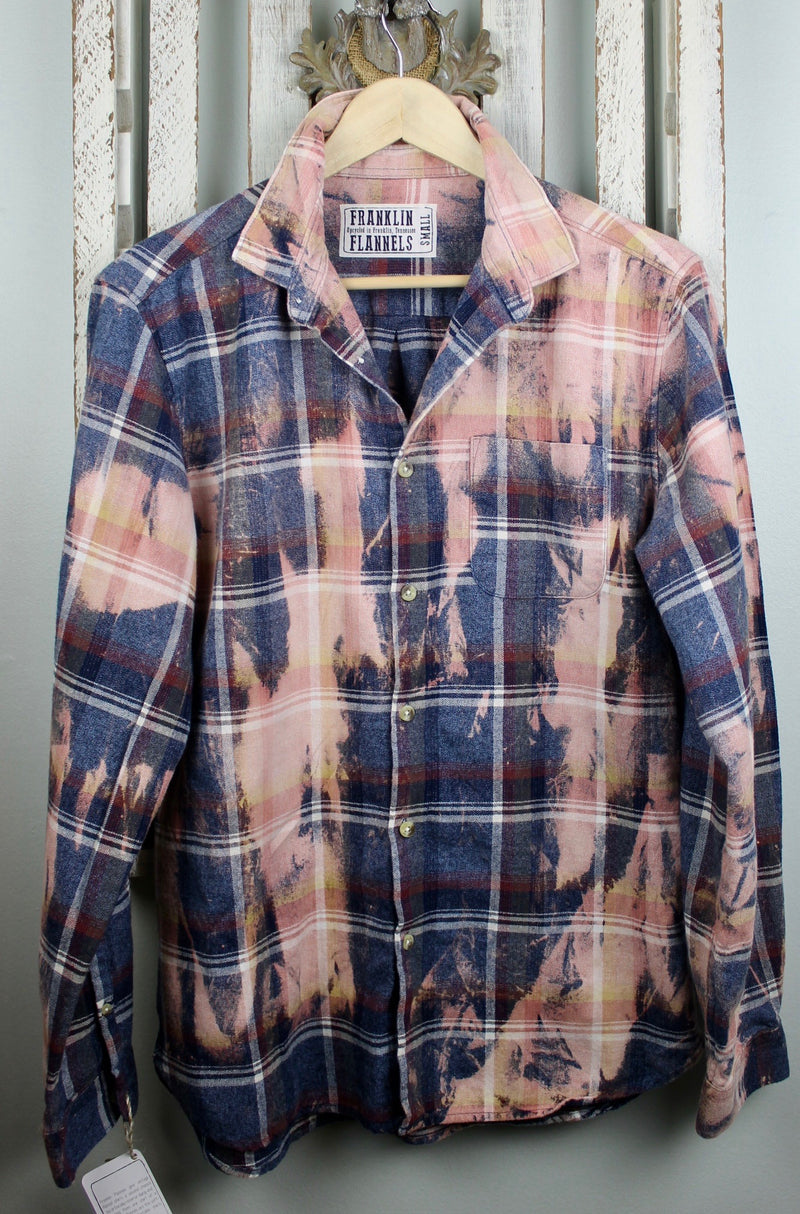 Vintage Denim Blue, Pink and Burgundy Flannel Size Small