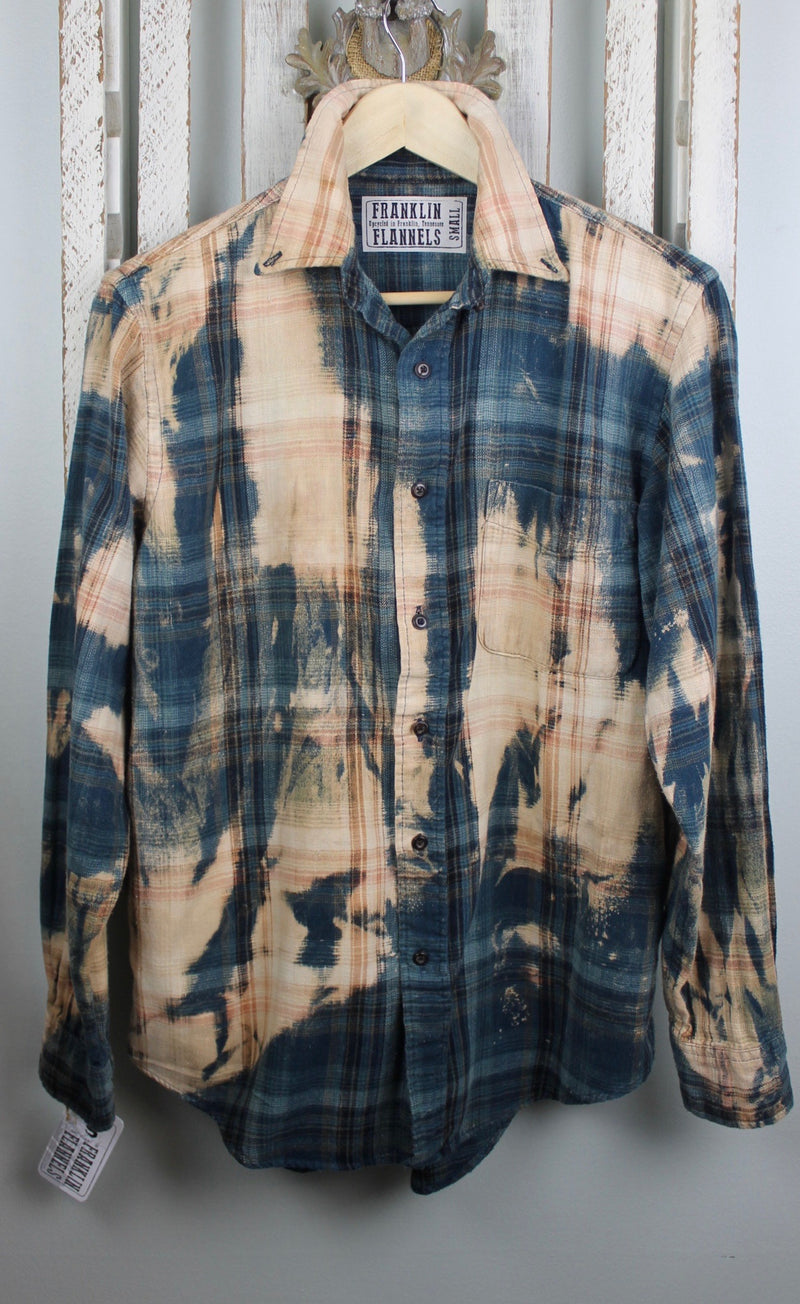 Vintage Teal Blue and Sand Flannel Size Small