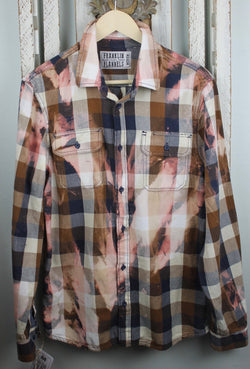 Vintage Navy, Taupe, Grey and Pink Flannel Size Medium