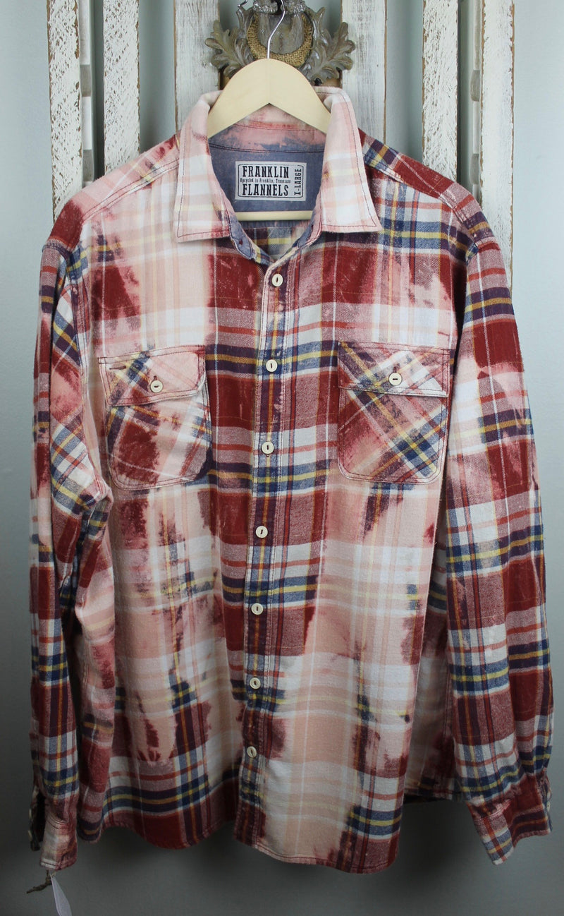Vintage Red, Blue, Yellow and White Flannel Size XL
