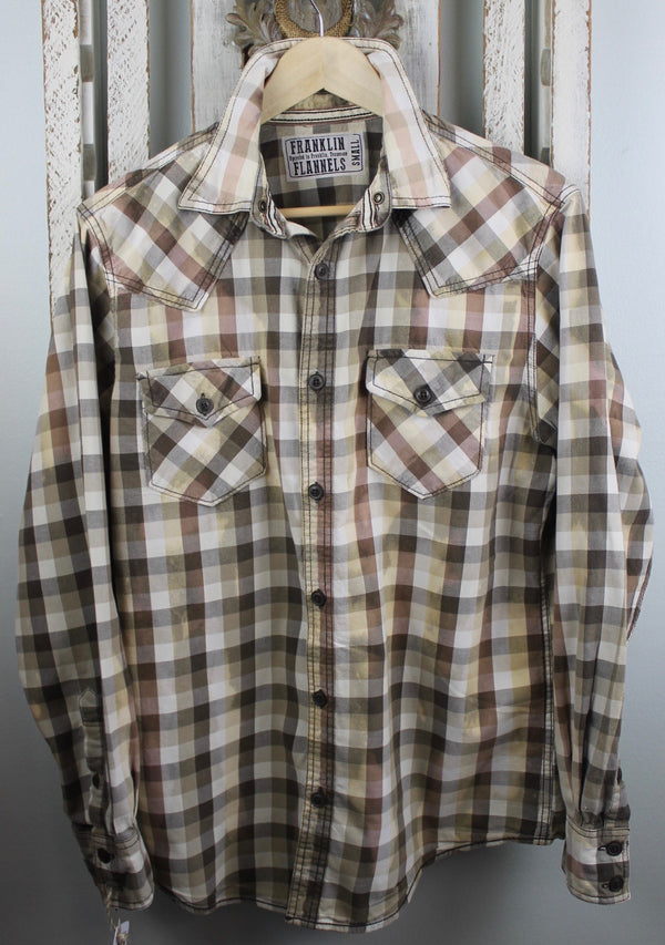Vintage Brown, White and Pale Yellow Flannel Size Small