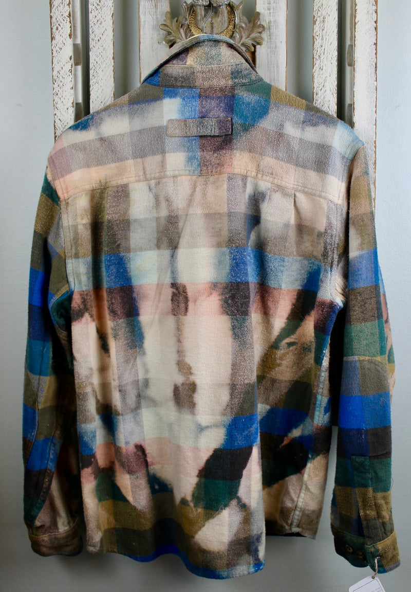 Vintage Turquoise, Royal Blue,Brown and Gold Flannel Jacket Size Large