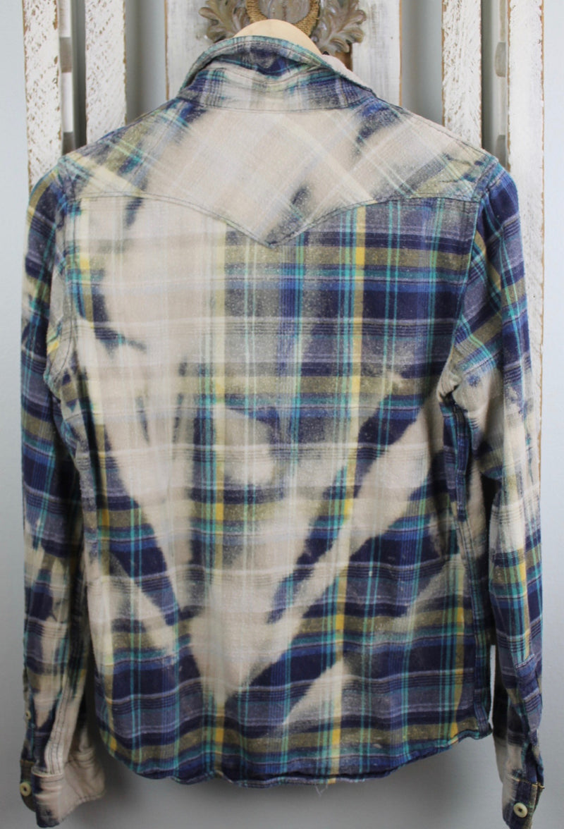 Grunge Royal Blue, Grey and Pale Yellow Flannel Size Small