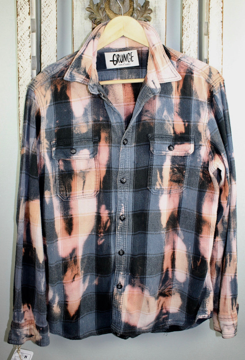 Grunge Gray Blue, Cream and Dusty Rose Flannel Size Medium