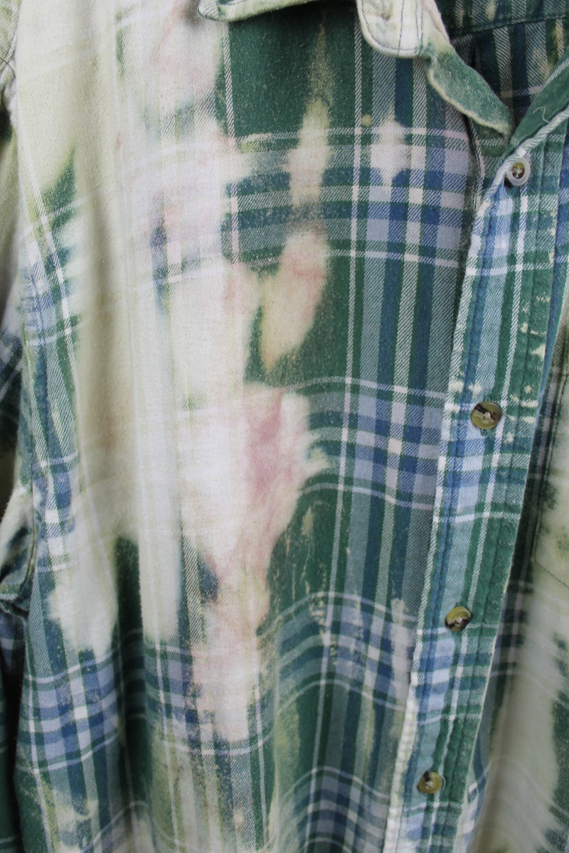 Grunge Green, Light Blue and Cream Flannel Size XL