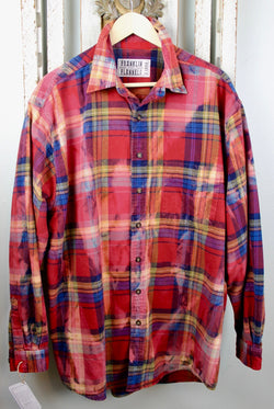 Vintage Red, Royal Blue and Yellow Flannel Size XL
