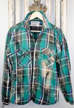 Vintage Green, Black and White Flannel Jacket Size Large