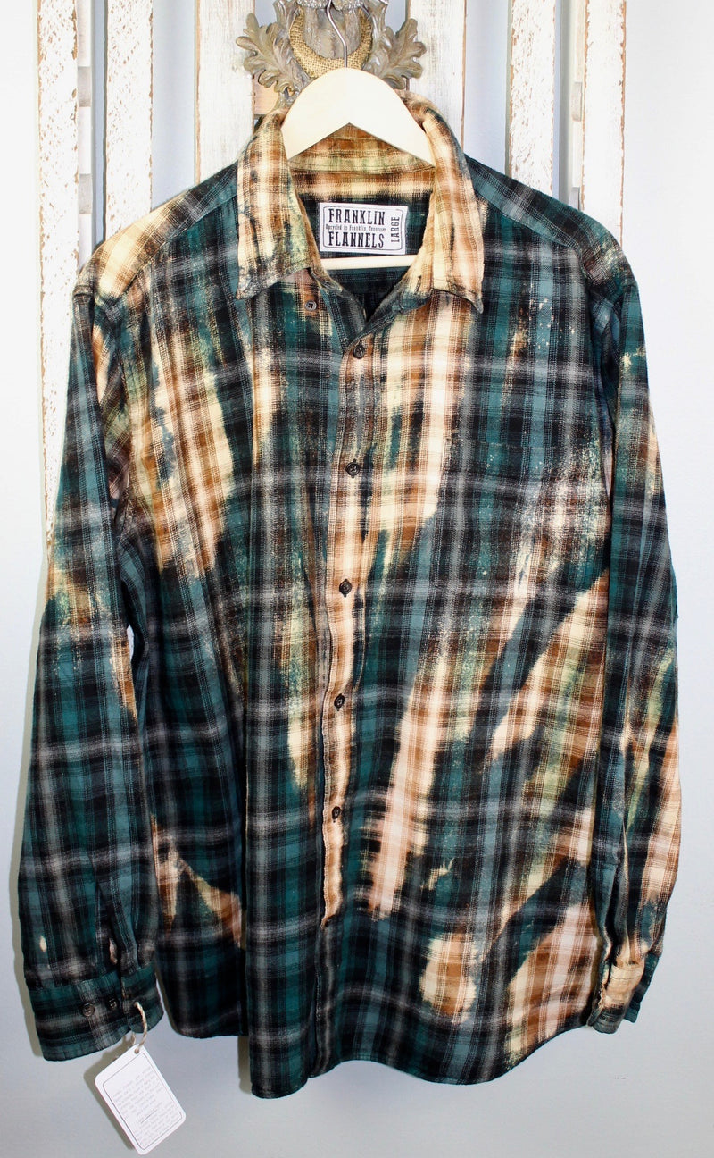 Vintage Teal, Black and Saddle Brown Flannel Size Large