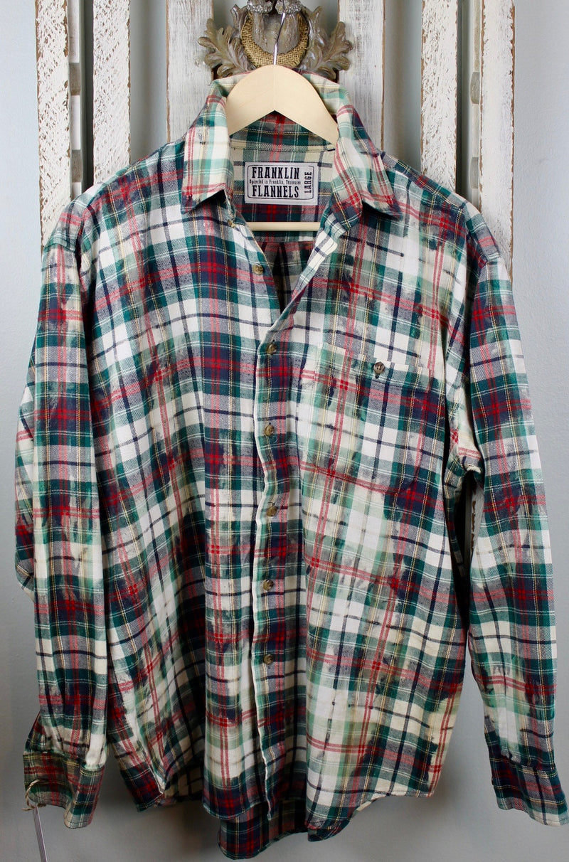 Vintage Green, Red and White Flannel Size Large