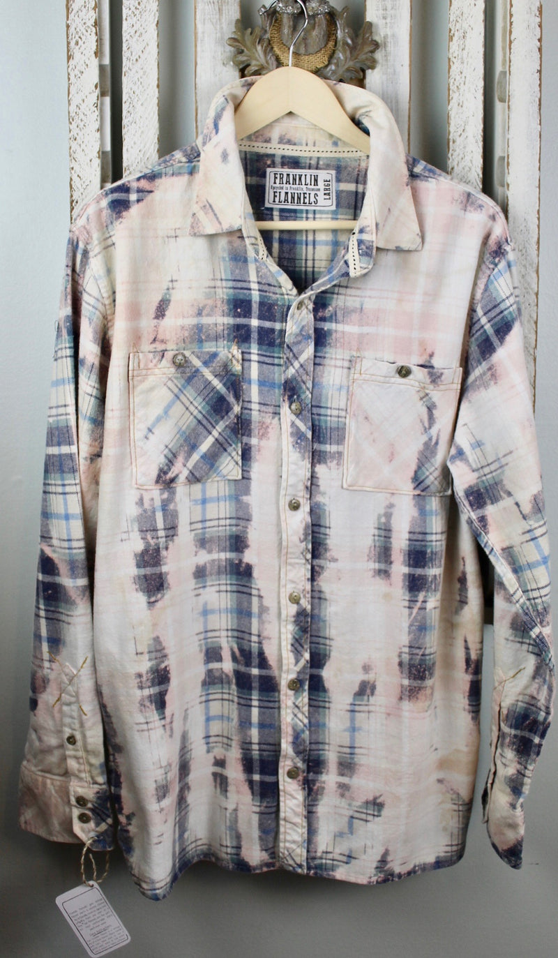 Vintage Blue, Pink and Cream Flannel Size Large