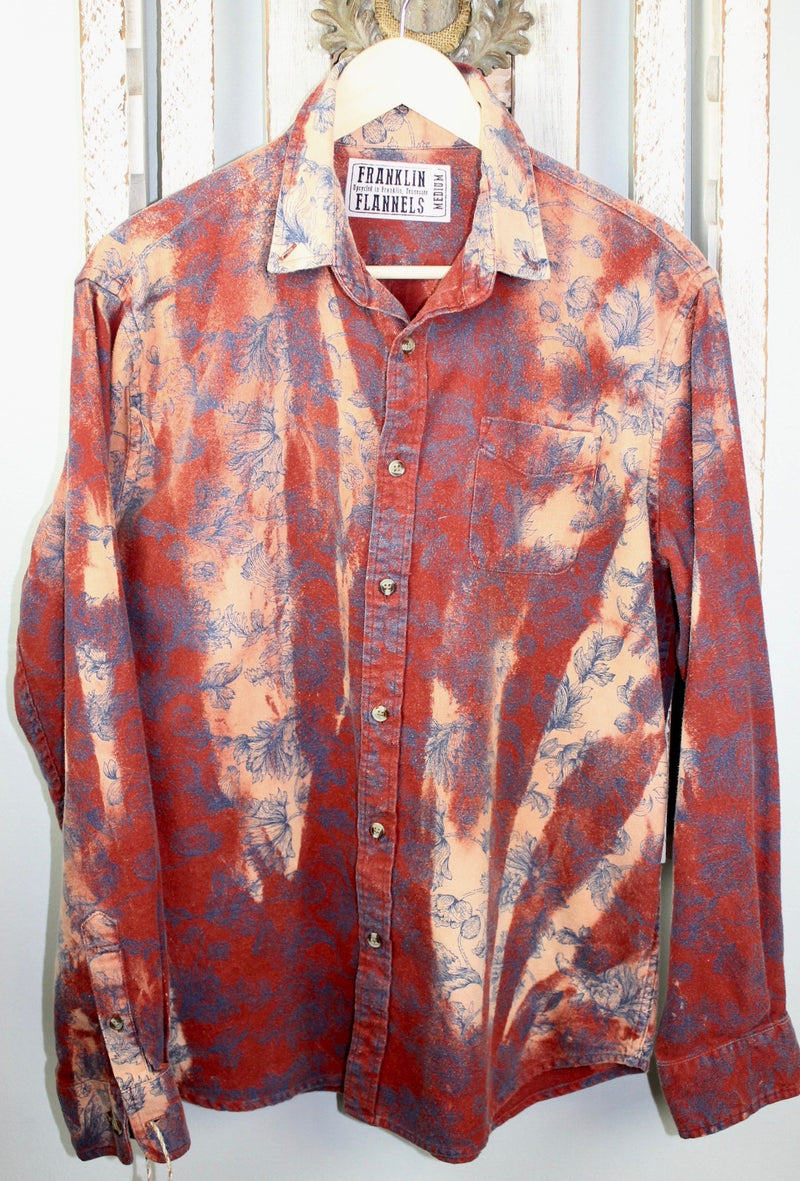 Vintage Rust Red, Peach and Navy Flannel Size Medium