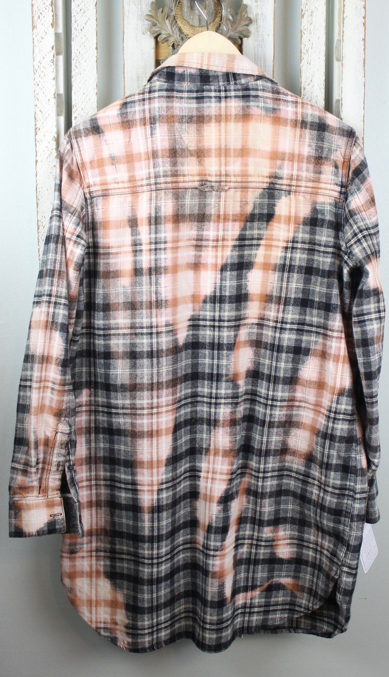 Vintage Black, Grey, Pink and White Flannel Dress Size Small