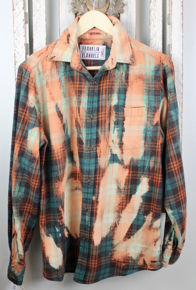 Vintage Green, Turquoise and Orange Flannel Size Small