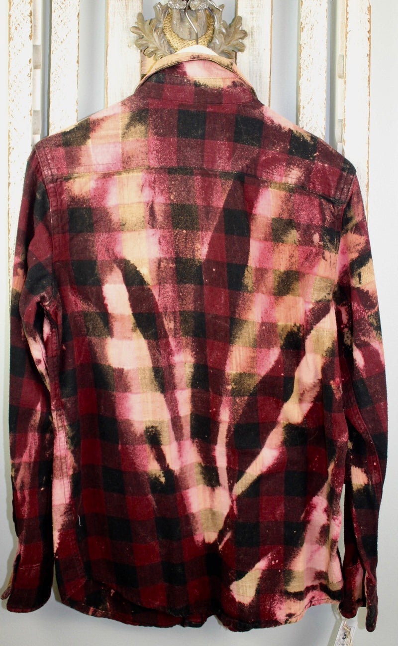 Vintage Black, Burgundy and Pink Flannel Size Small