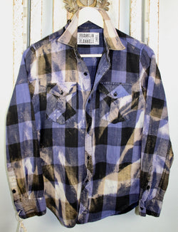 Vintage Deep Purple, Black and Taupe Flannel Size Small