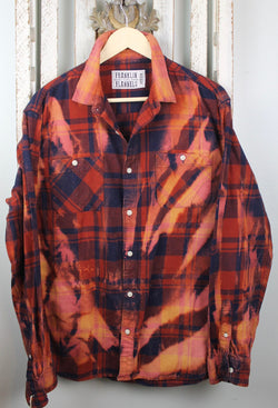 Vintage Navy Blue, Rust, Scarlet and Merlot Flannel Size Medium