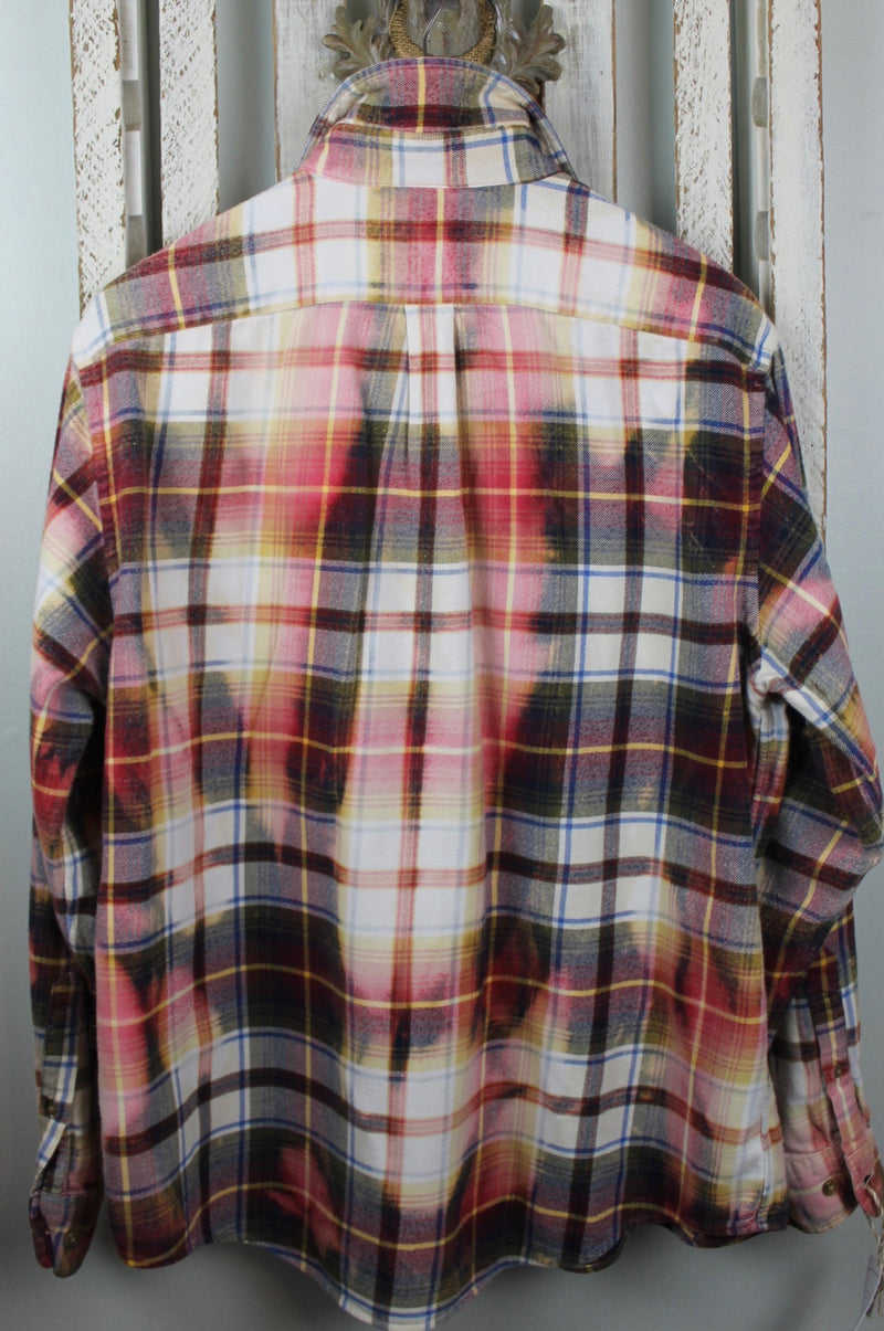 Vintge Merlot, Pink, White and Brown Flannel Size Large