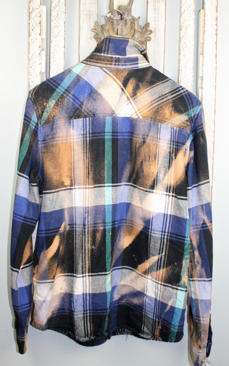 Vintage Royal Blue, Turquoise, Orange and Brown Flannel Size Medium