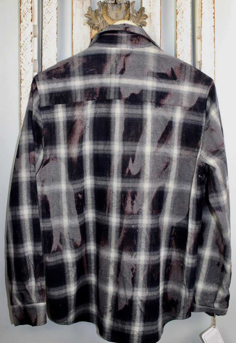Vintage Black, Grey and Plum Flannel Size Small