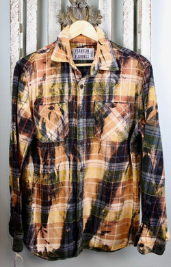 Vintage Black, Dark Green, Gold and Rust Flannel Size Small