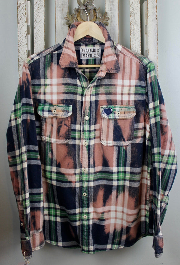 Vintage Navy Blue, Bright Green, Dusty Rose and White Flannel Size Medium
