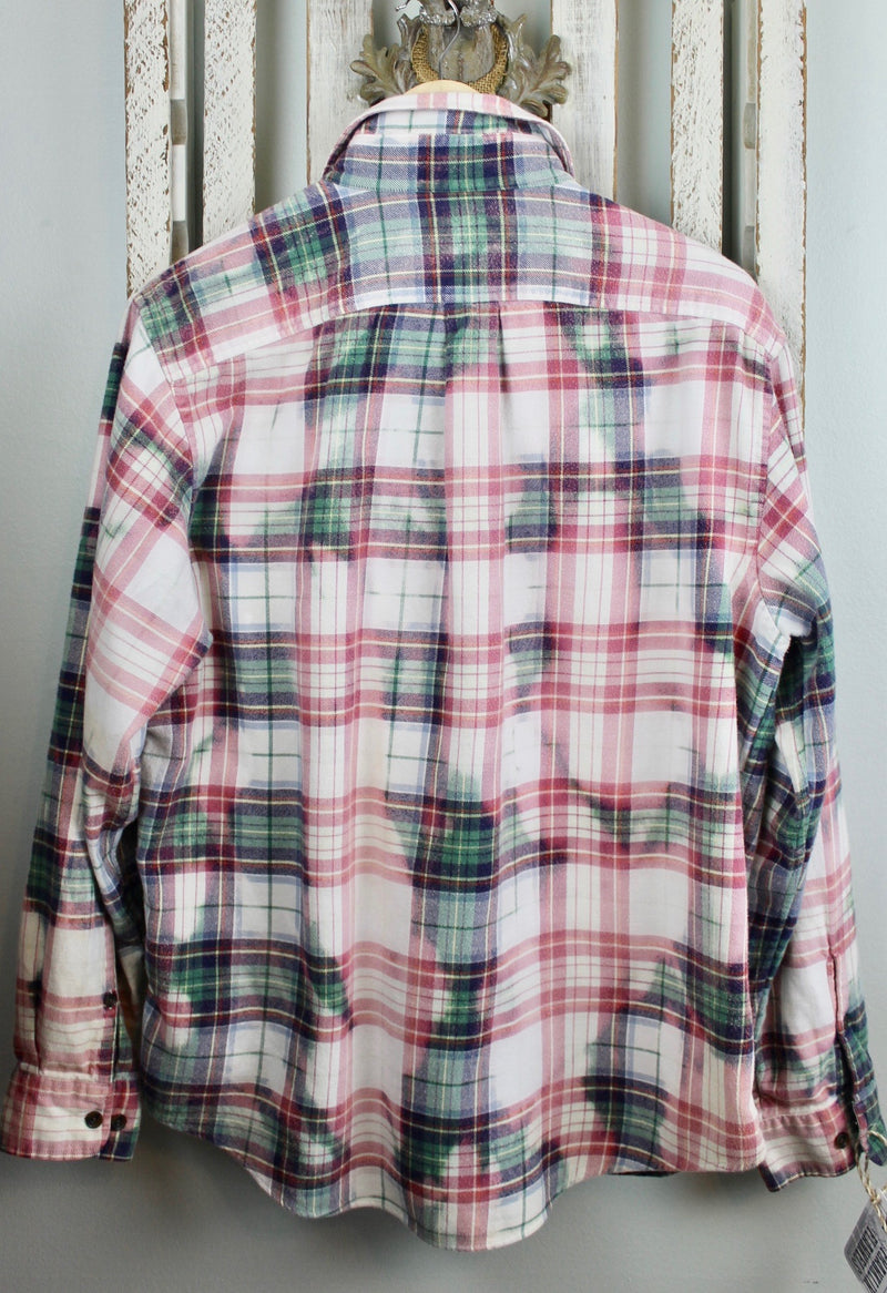 Vintage Pink, Green and White Flannel Size Large