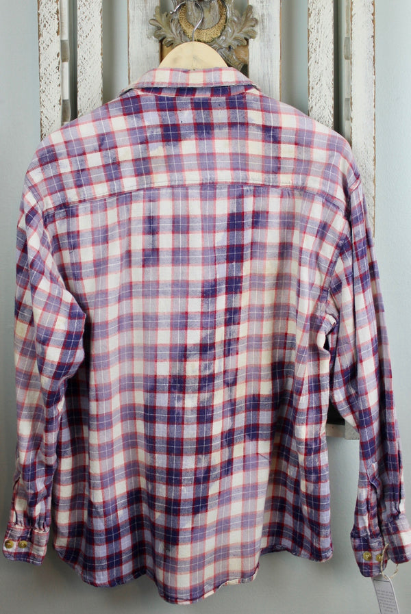 Vintage Faded Blue, Red and White Flannel Size Large