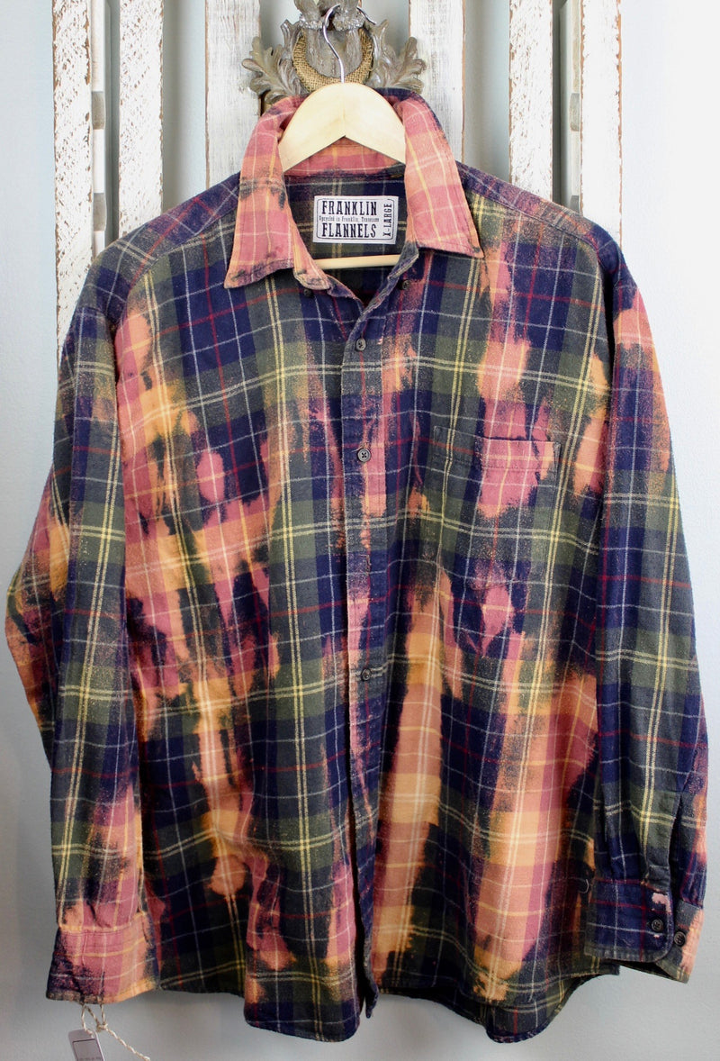 Vintage Army Green, Pink and Coral Flannel Size XL