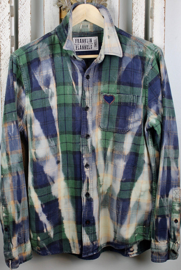 Vintage Navy Blue, Hunter Green and Cream Flannel Size Small