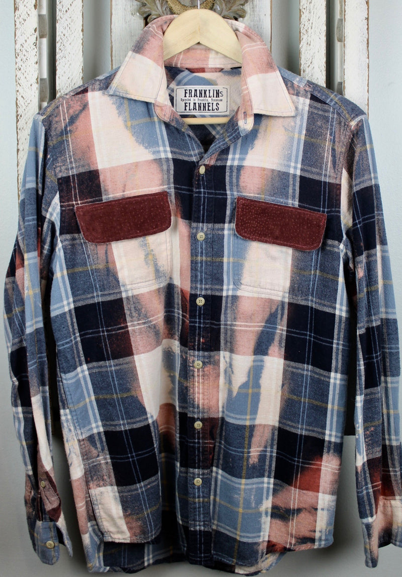 Vintage Navy, Light Blue, Dusty Rose and Cream Flannel with Suede Size Small