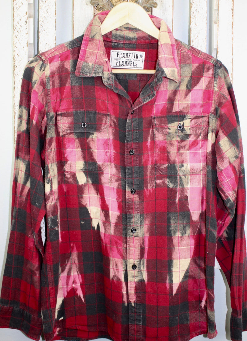 Fanciful Red, Blakc and Pink Flannel with Bling Size Small