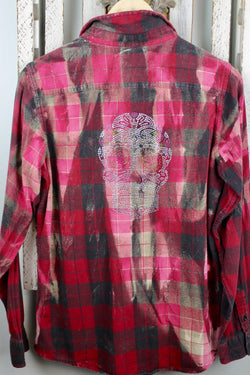 Fanciful Red, Black and Pink Flannel with Bling Size Small