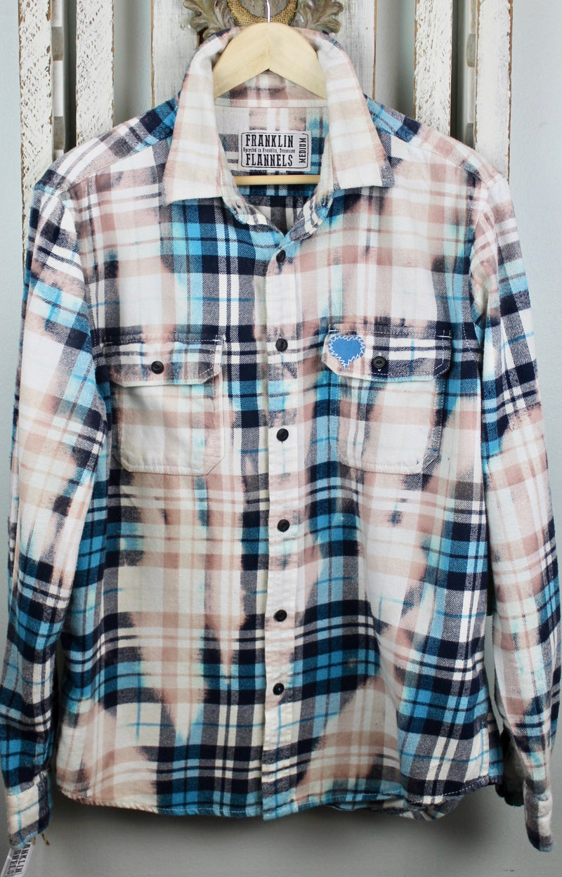 Vintage Turquoise, Cream, White and Black Flannel Size Medium