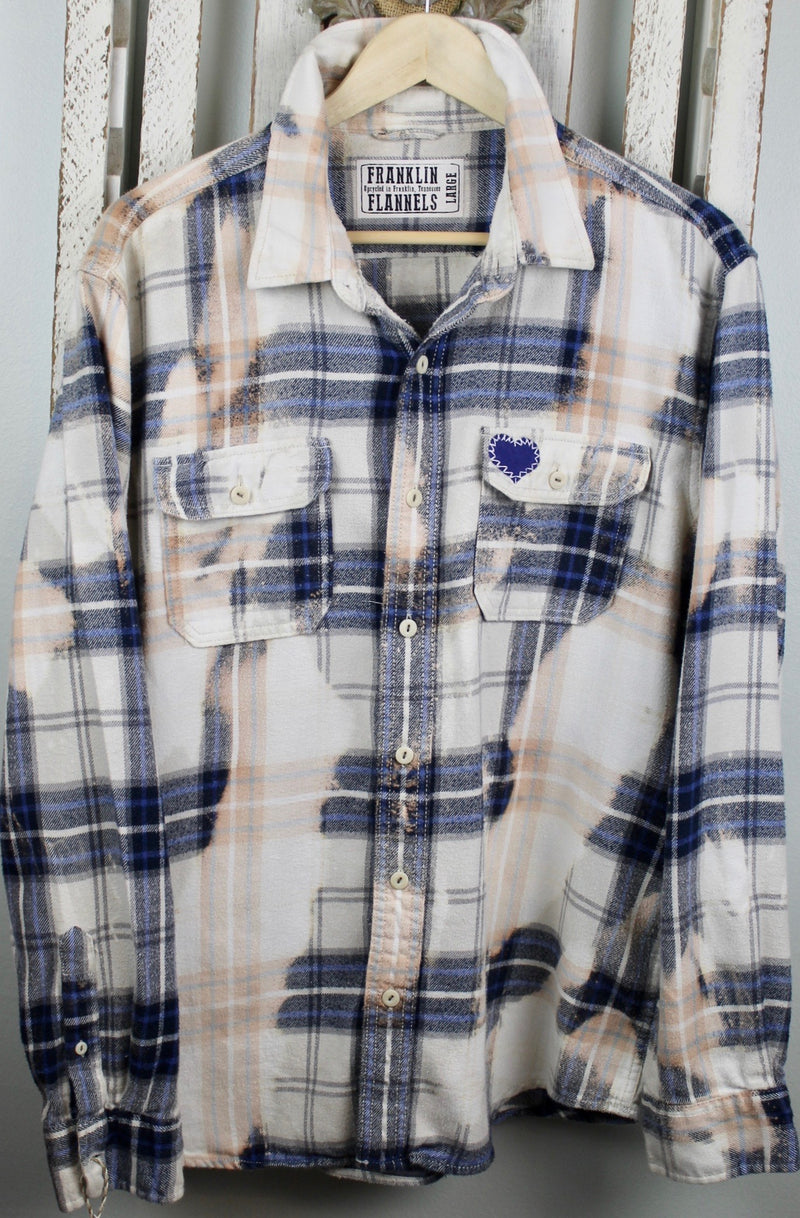 Vintage Navy Blue, White and Cream Flannel Size Large