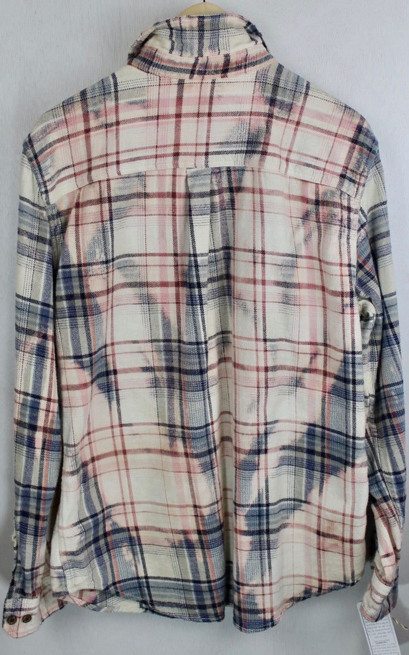 Vintage Pale Blue, Pink and White Flannel Size Small