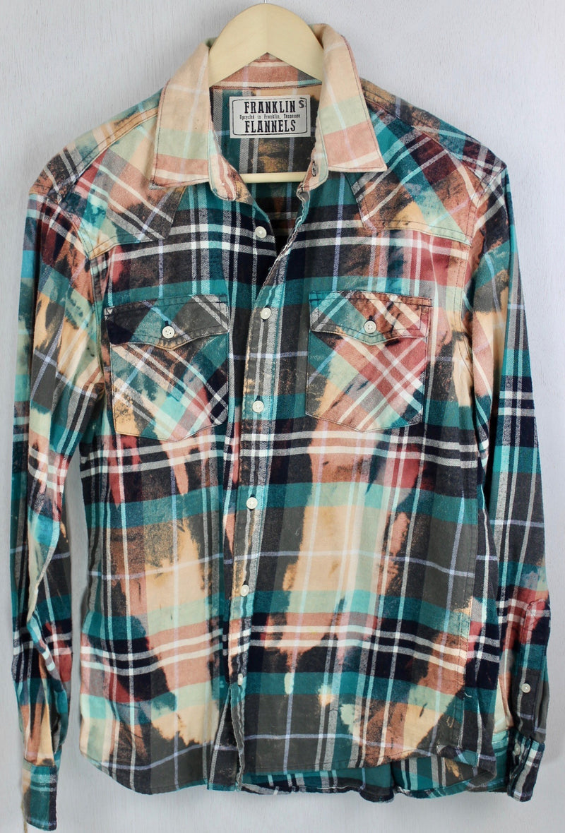 Vintage Turquoise, Peach, Grey and Black Flannel Size Small