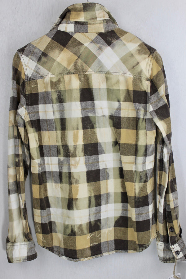 Vintage Brown, Cream and Rust Flannel with Suede Size Small