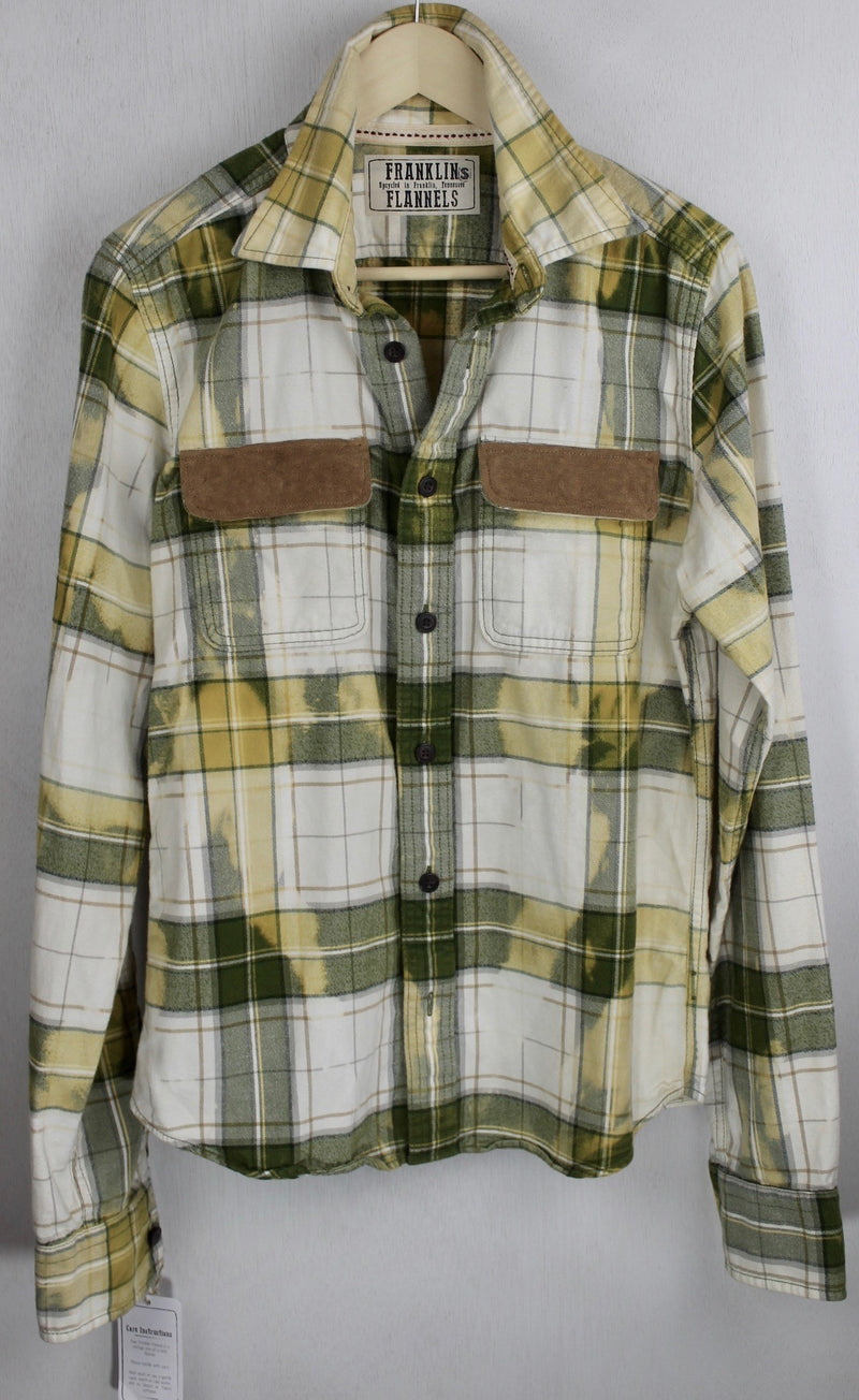 Vintage Green, White and Pale Yellow Flannel with Suede